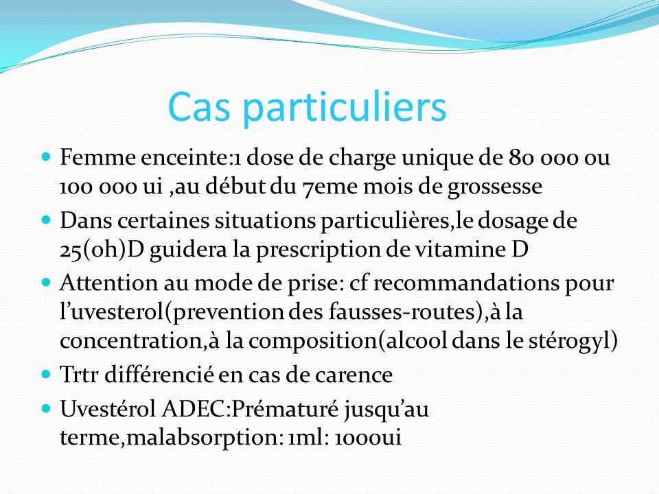Cas particuliers Femme enceinte:1 dose de charge unique de 80 000 ou 100 000 ui,au début du 7eme mois de grossesse Dans certaines situations particuli