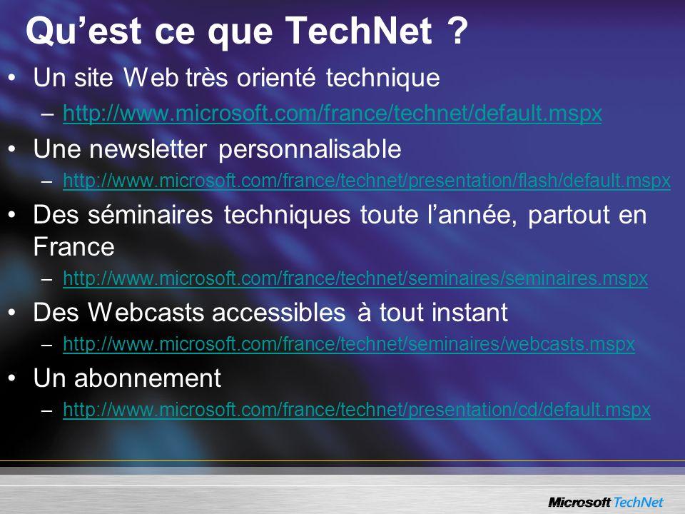 Quest ce que TechNet ? Un site Web très orienté technique –http://www.microsoft.com/france/technet/default.mspxhttp://www.microsoft.com/france/technet