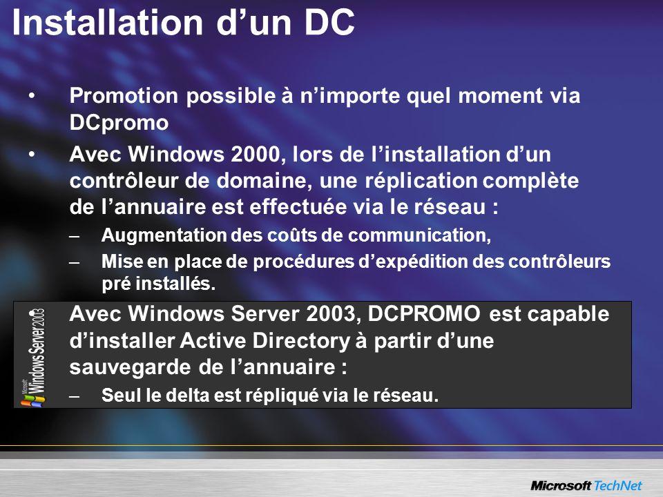 Installation dun DC Promotion possible à nimporte quel moment via DCpromo Avec Windows 2000, lors de linstallation dun contrôleur de domaine, une répl