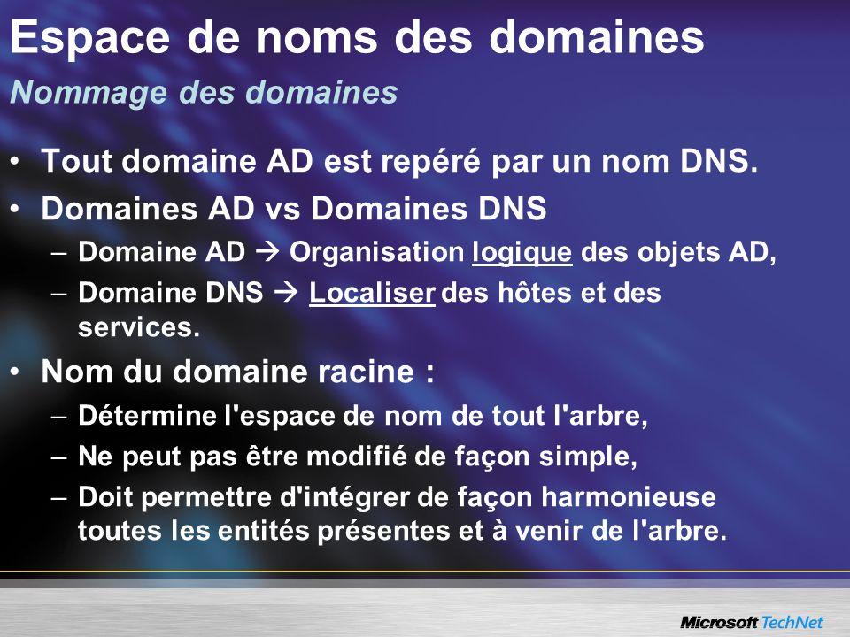 Tout domaine AD est repéré par un nom DNS. Domaines AD vs Domaines DNS –Domaine AD Organisation logique des objets AD, –Domaine DNS Localiser des hôte