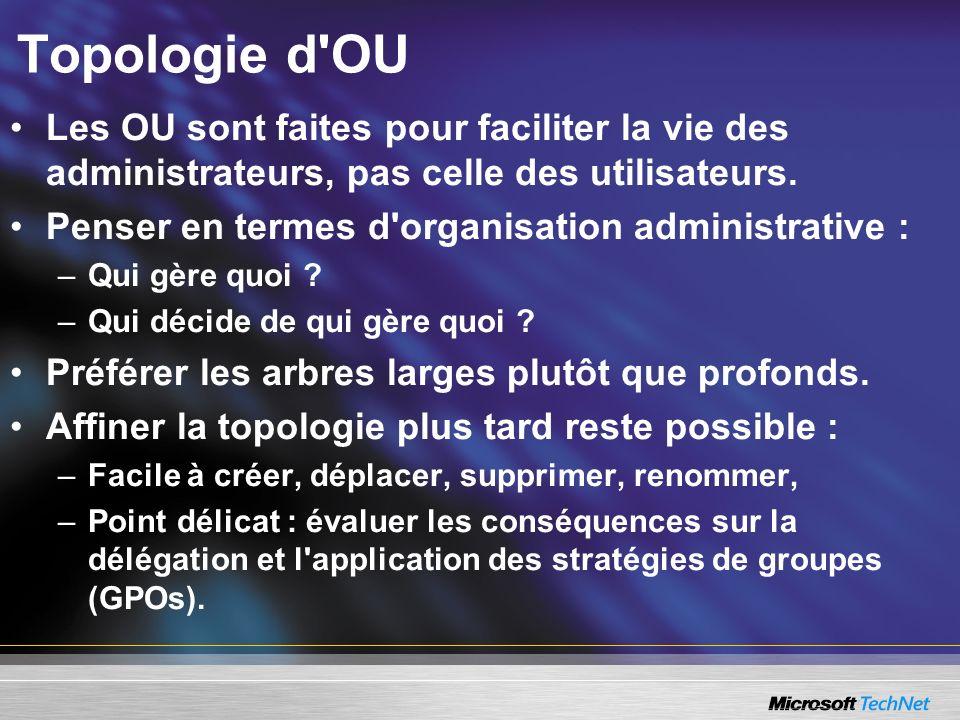 Les OU sont faites pour faciliter la vie des administrateurs, pas celle des utilisateurs. Penser en termes d'organisation administrative : –Qui gère q