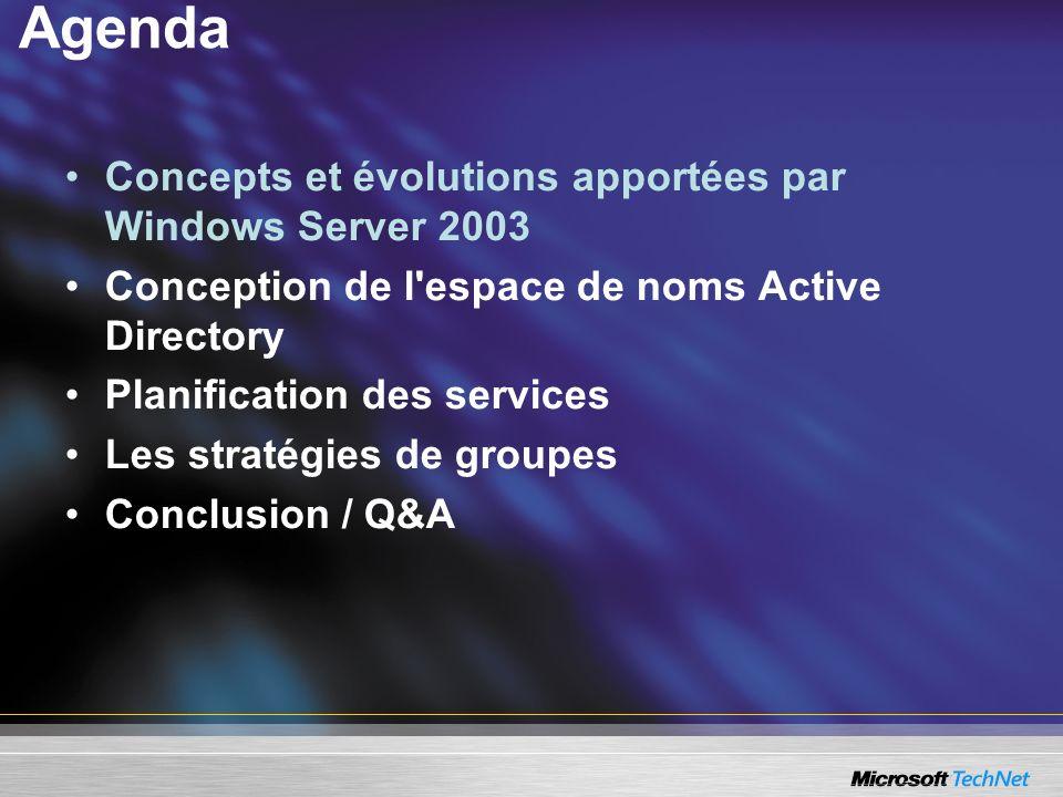 Agenda Concepts et évolutions apportées par Windows Server 2003 Conception de l'espace de noms Active Directory Planification des services Les stratég