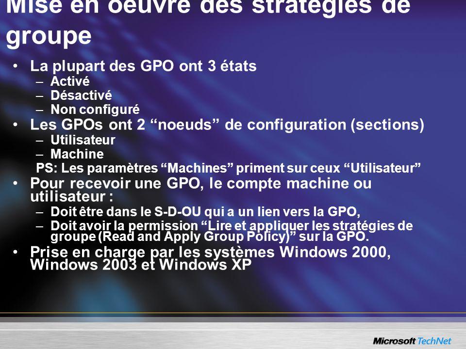 Mise en oeuvre des stratégies de groupe La plupart des GPO ont 3 états –Activé –Désactivé –Non configuré Les GPOs ont 2 noeuds de configuration (secti