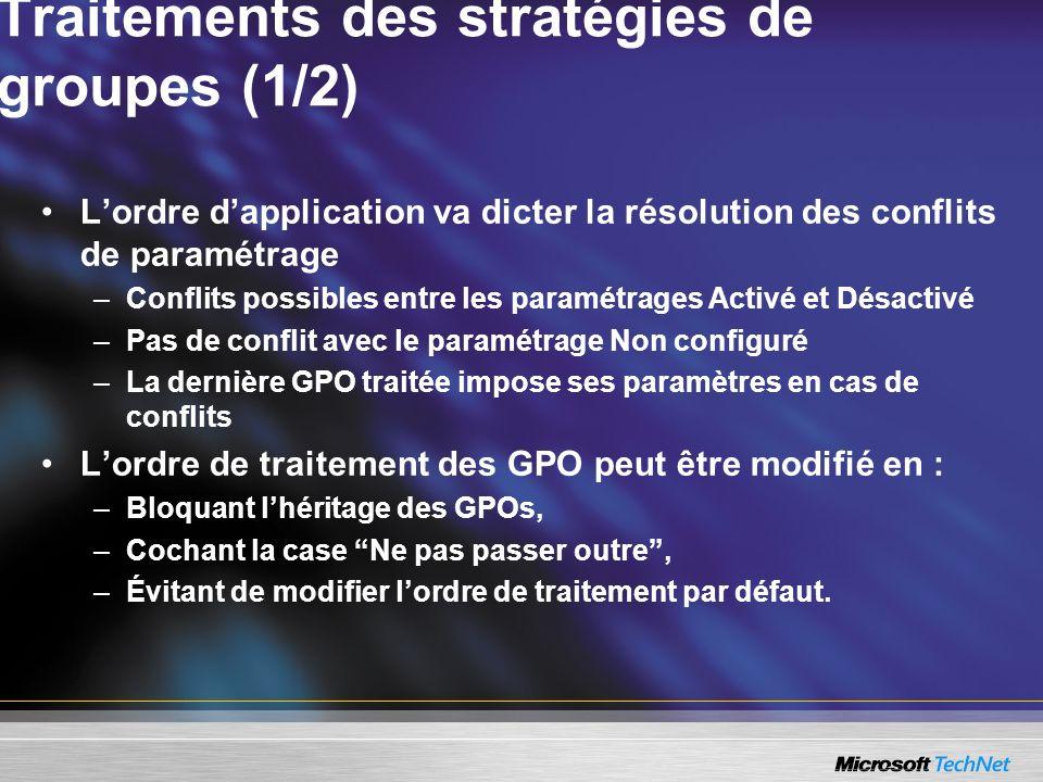 Traitements des stratégies de groupes (1/2) Lordre dapplication va dicter la résolution des conflits de paramétrage –Conflits possibles entre les para
