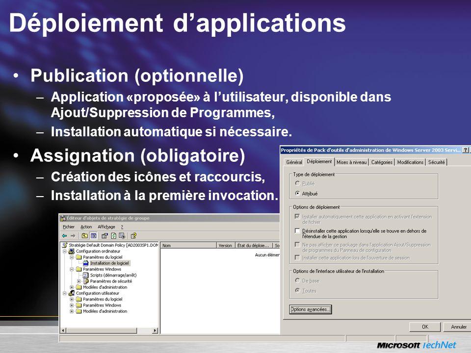 Déploiement dapplications Publication (optionnelle) –Application «proposée» à lutilisateur, disponible dans Ajout/Suppression de Programmes, –Installa