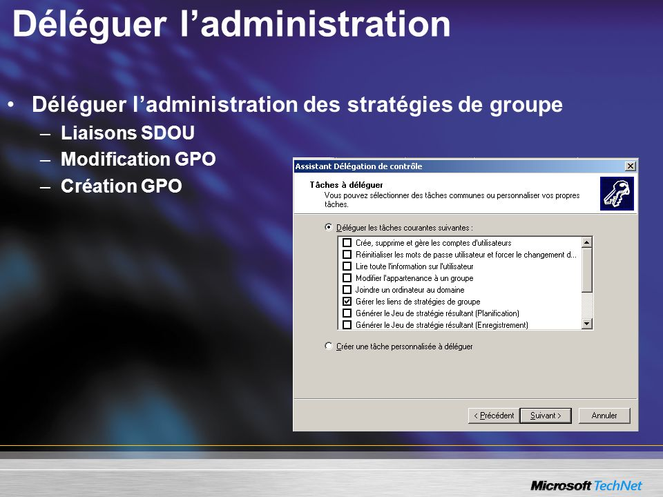 Déléguer ladministration Déléguer ladministration des stratégies de groupe –Liaisons SDOU –Modification GPO –Création GPO
