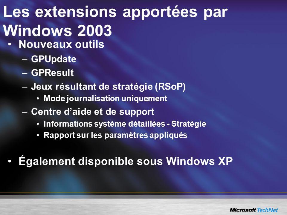 Les extensions apportées par Windows 2003 Nouveaux outils –GPUpdate –GPResult –Jeux résultant de stratégie (RSoP) Mode journalisation uniquement –Cent