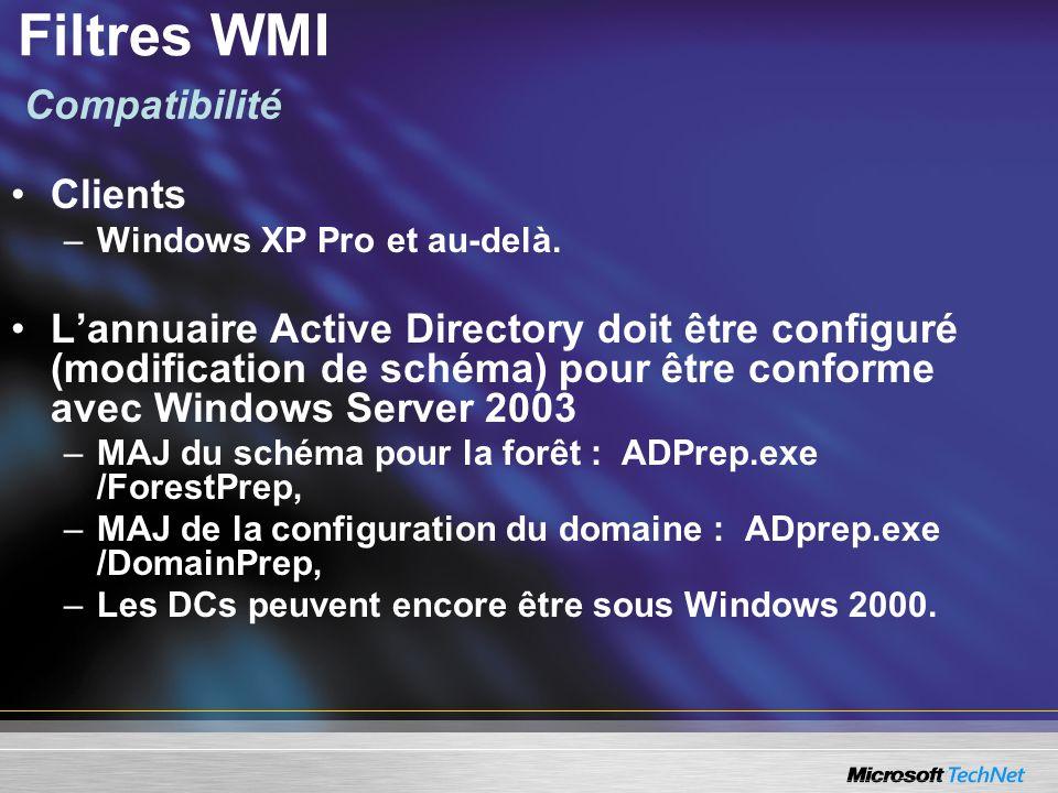 Clients –Windows XP Pro et au-delà. Lannuaire Active Directory doit être configuré (modification de schéma) pour être conforme avec Windows Server 200