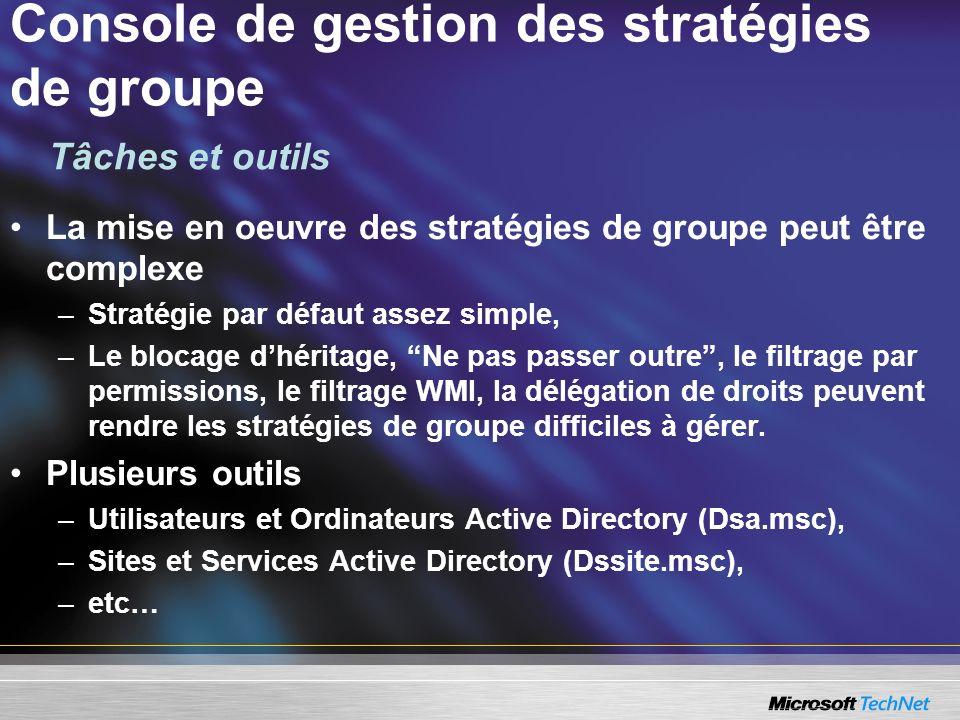 La mise en oeuvre des stratégies de groupe peut être complexe –Stratégie par défaut assez simple, –Le blocage dhéritage, Ne pas passer outre, le filtr