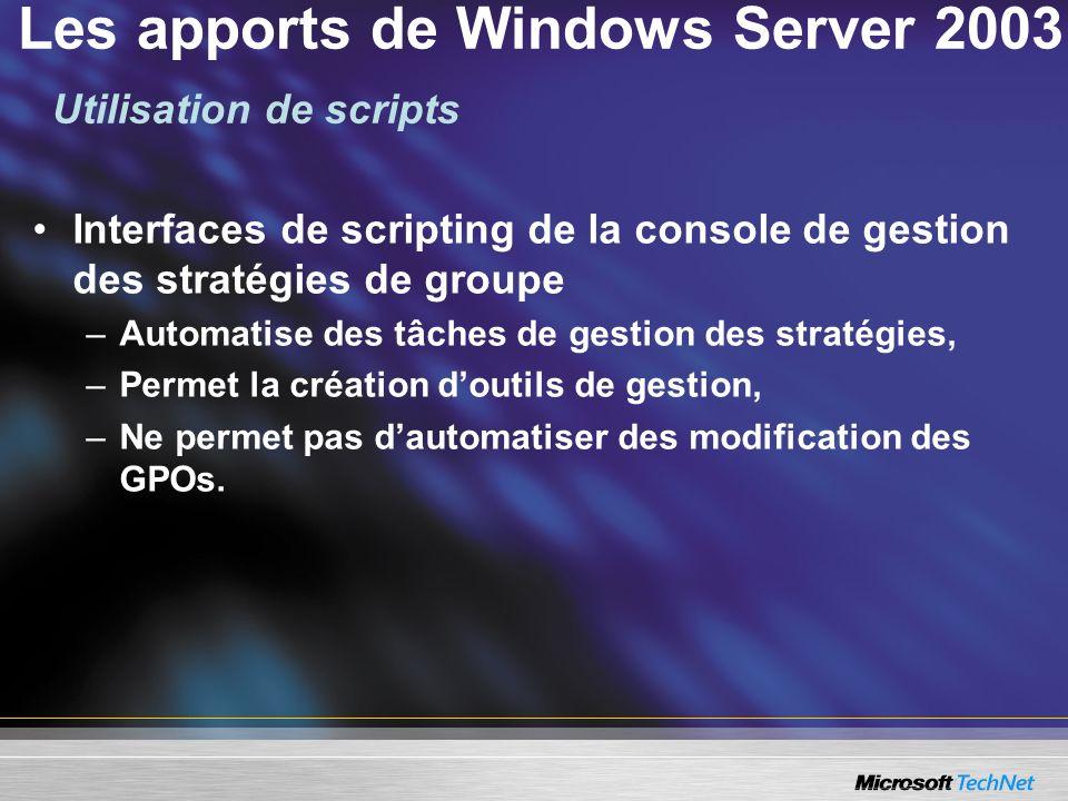 Les apports de Windows Server 2003 Interfaces de scripting de la console de gestion des stratégies de groupe –Automatise des tâches de gestion des str