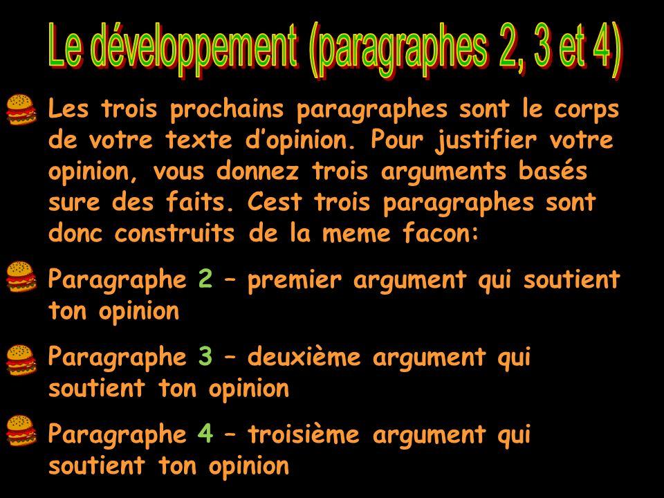 La bonne partie de ton texte! 8-12 phrases dans chaque paragraphe