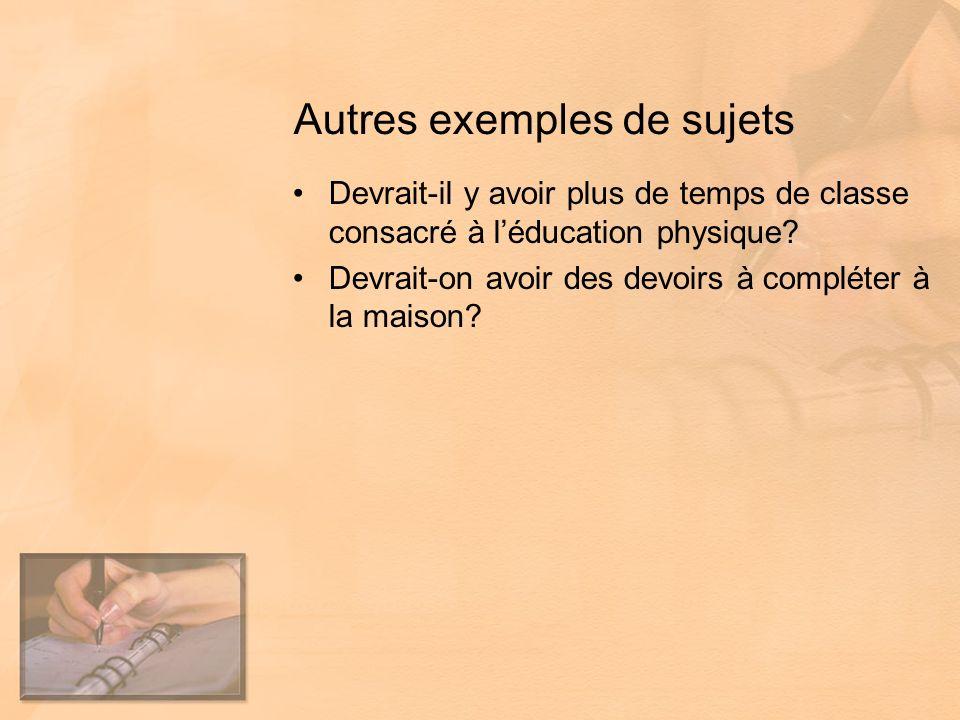Autres exemples de sujets Devrait-il y avoir plus de temps de classe consacré à léducation physique.