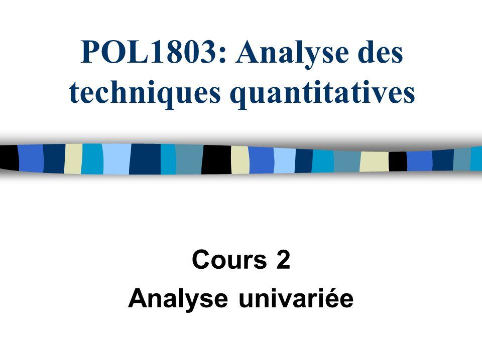 POL1803: Analyse des techniques quantitatives Cours 2 Analyse univariée