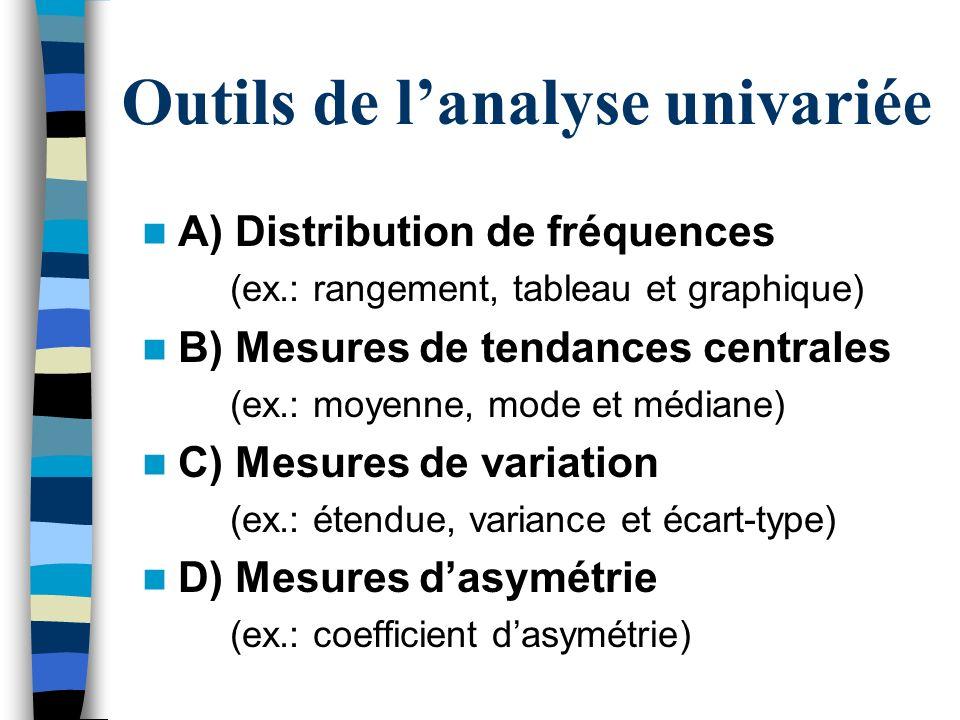 A) Distribution de fréquences (ex.: rangement, tableau et graphique) B) Mesures de tendances centrales (ex.: moyenne, mode et médiane) C) Mesures de v