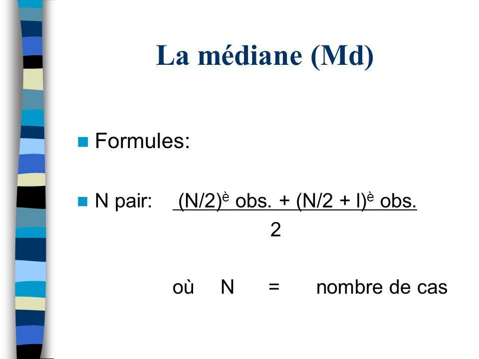 La médiane (Md) Formules: N pair: (N/2) è obs. + (N/2 + l) è obs. 2 oùN=nombre de cas