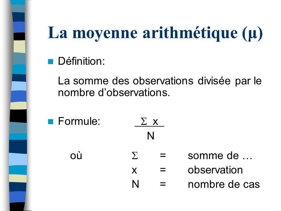 La moyenne arithmétique (μ) Définition: La somme des observations divisée par le nombre dobservations. Formule: x N où =somme de … x=observation N=nom