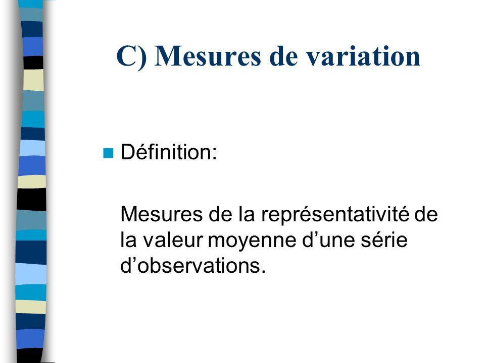 C) Mesures de variation Définition: Mesures de la représentativité de la valeur moyenne dune série dobservations.
