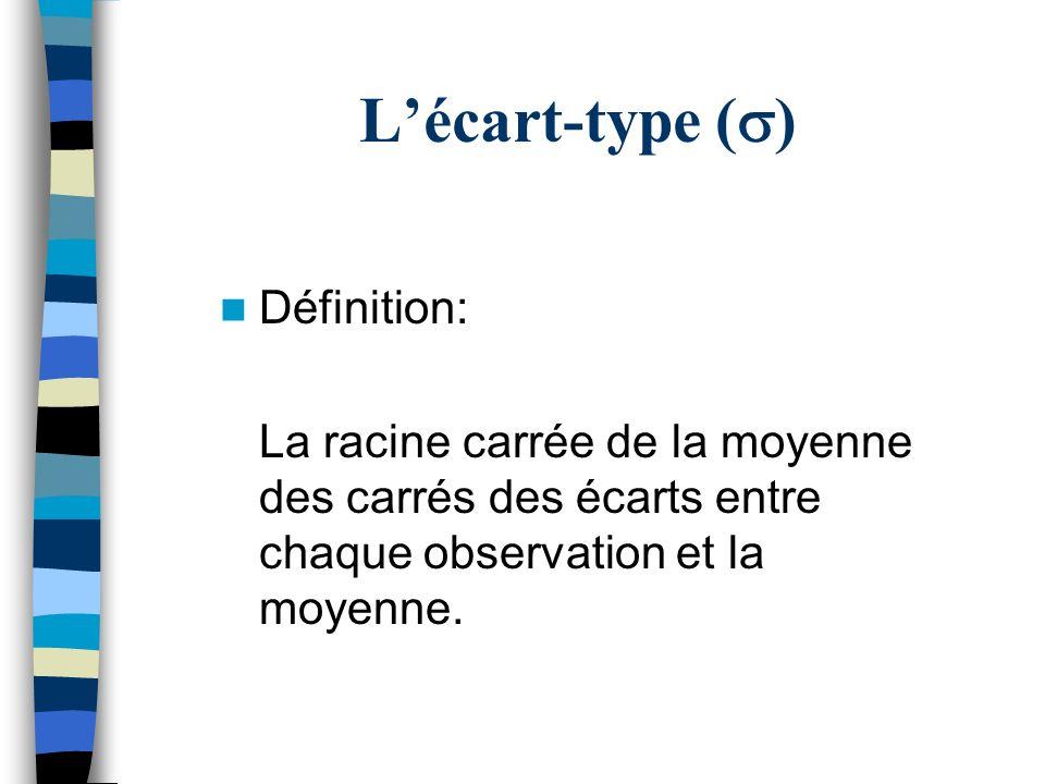 Lécart-type ( ) Définition: La racine carrée de la moyenne des carrés des écarts entre chaque observation et la moyenne.