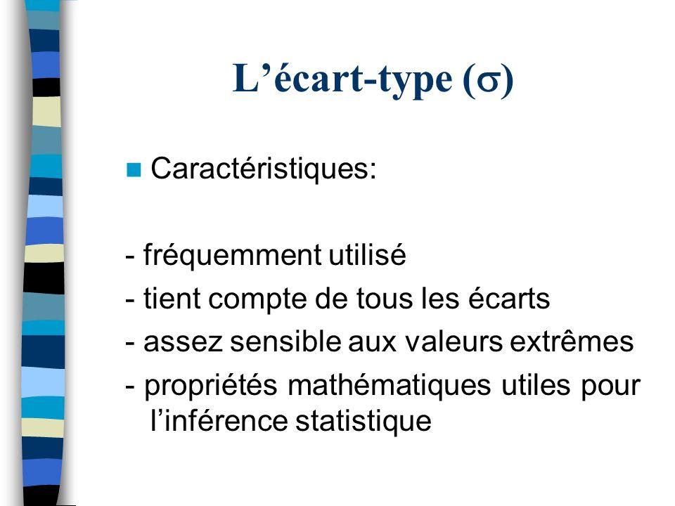 Lécart-type ( ) Caractéristiques: - fréquemment utilisé - tient compte de tous les écarts - assez sensible aux valeurs extrêmes - propriétés mathémati