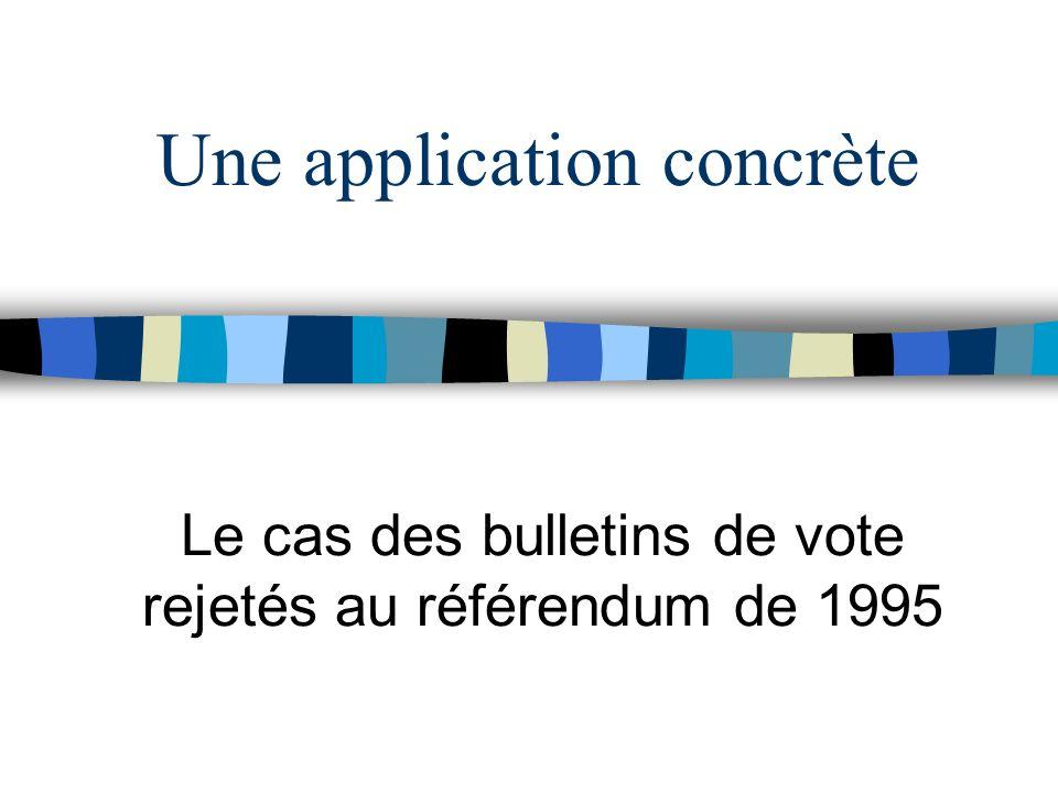 Une application concrète Le cas des bulletins de vote rejetés au référendum de 1995