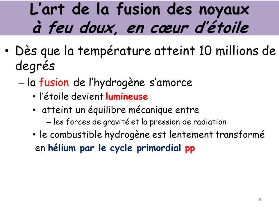 Lart de la fusion des noyaux à feu doux, en cœur détoile Dès que la température atteint 10 millions de degrés – la fusion de lhydrogène samorce létoile devient lumineuse atteint un équilibre mécanique entre – les forces de gravité et la pression de radiation le combustible hydrogène est lentement transformé en hélium par le cycle primordial pp 30