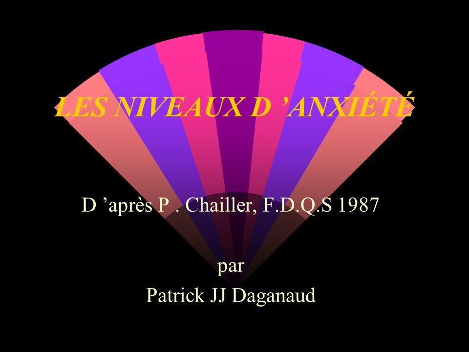 LES NIVEAUX D ANXIÉTÉ D après P. Chailler, F.D.Q.S 1987 par Patrick JJ Daganaud