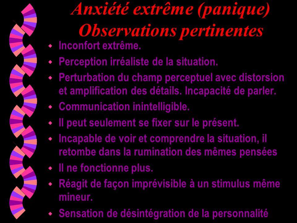 Anxiété extrême (panique) Observations pertinentes w Inconfort extrême. w Perception irréaliste de la situation. w Perturbation du champ perceptuel av