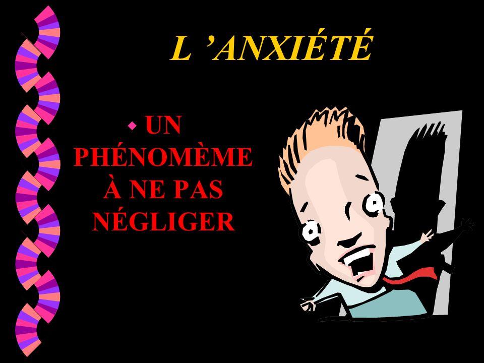 L ANXIÉTÉ w UN PHÉNOMÈME À NE PAS NÉGLIGER