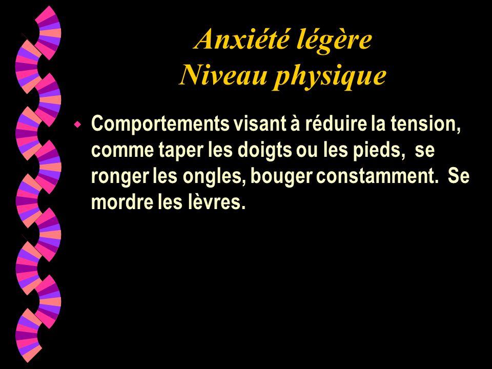 Anxiété légère Niveau physique wCwComportements visant à réduire la tension, comme taper les doigts ou les pieds, se ronger les ongles, bouger constam