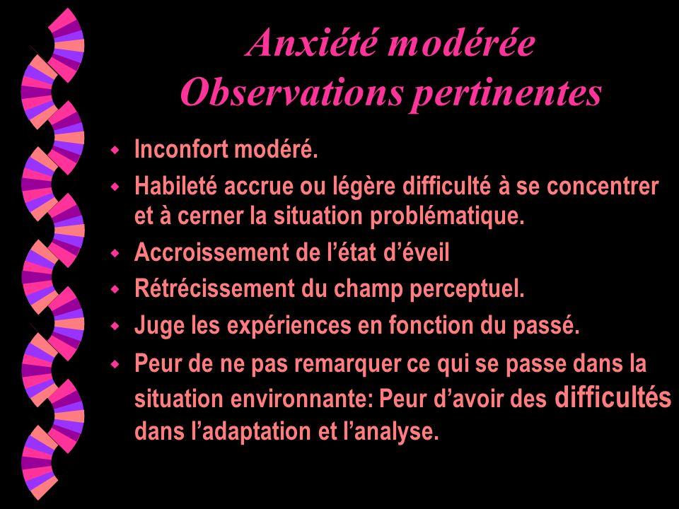 Anxiété modérée Observations pertinentes wIwInconfort modéré. wHwHabileté accrue ou légère difficulté à se concentrer et à cerner la situation problém