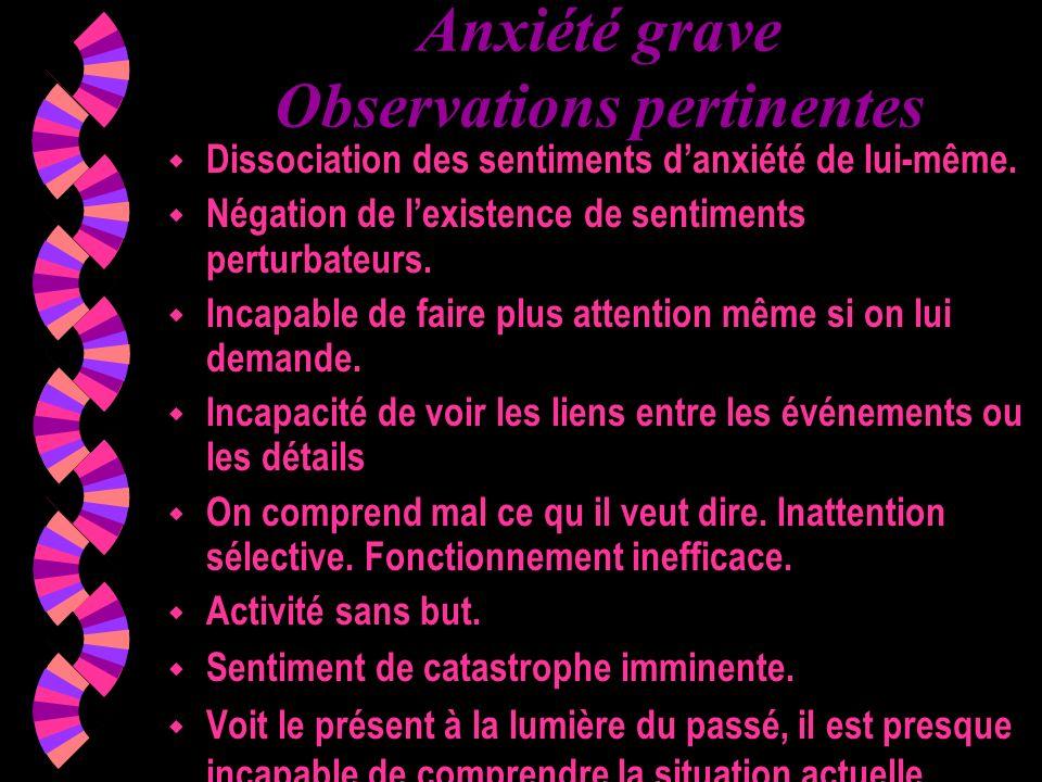 Anxiété grave Observations pertinentes w Dissociation des sentiments danxiété de lui-même. w Négation de lexistence de sentiments perturbateurs. w Inc