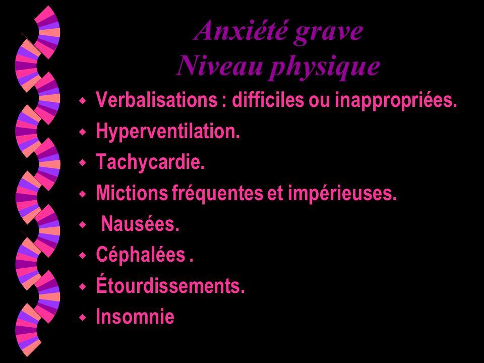Anxiété grave Niveau physique w Verbalisations : difficiles ou inappropriées. w Hyperventilation. w Tachycardie. w Mictions fréquentes et impérieuses.