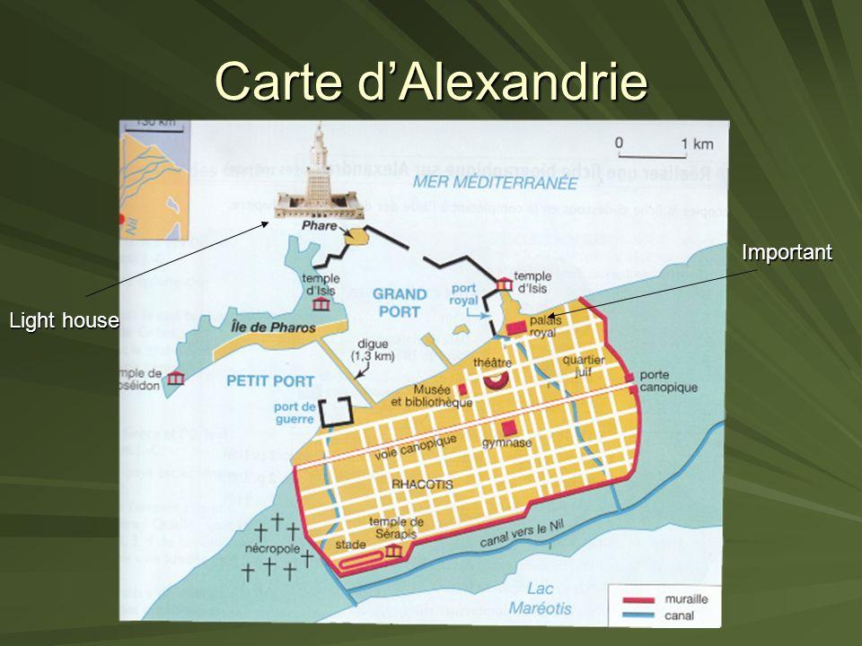 La ville dAlexandrie Seul port débouché de lÉgypte sur la Méditerranée. Une grande métropole cosmopolite, la plus importante du monde hellénistique Le