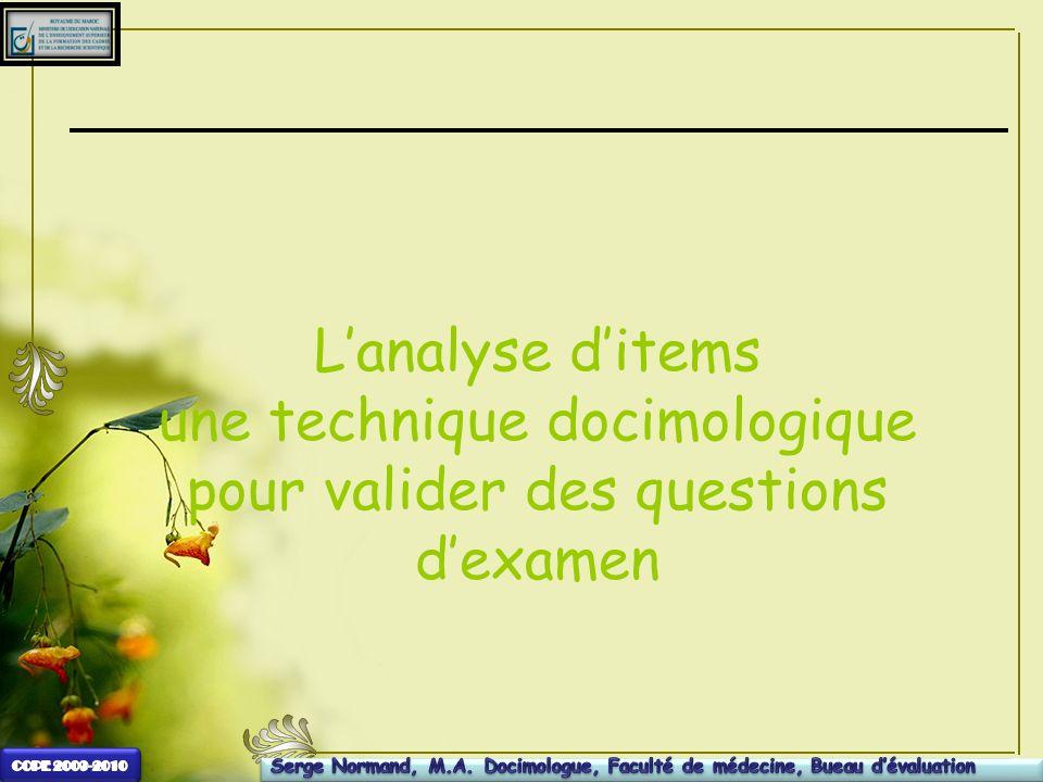 Lanalyse ditems une technique docimologique pour valider des questions dexamen