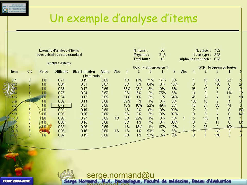 serge.normand@u montreal.ca Un exemple danalyse ditems