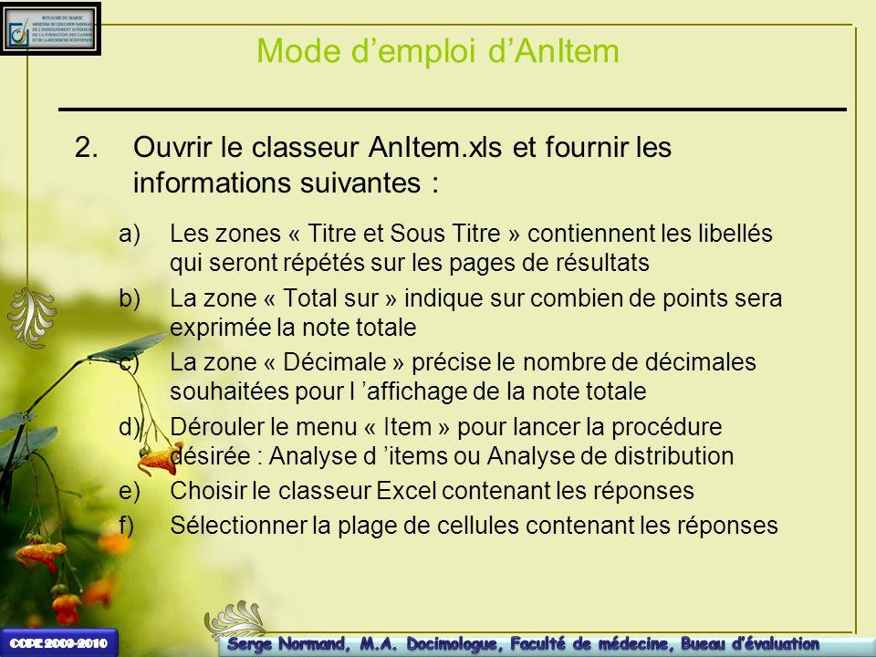 Mode demploi dAnItem 2.Ouvrir le classeur AnItem.xls et fournir les informations suivantes : a)Les zones « Titre et Sous Titre » contiennent les libel