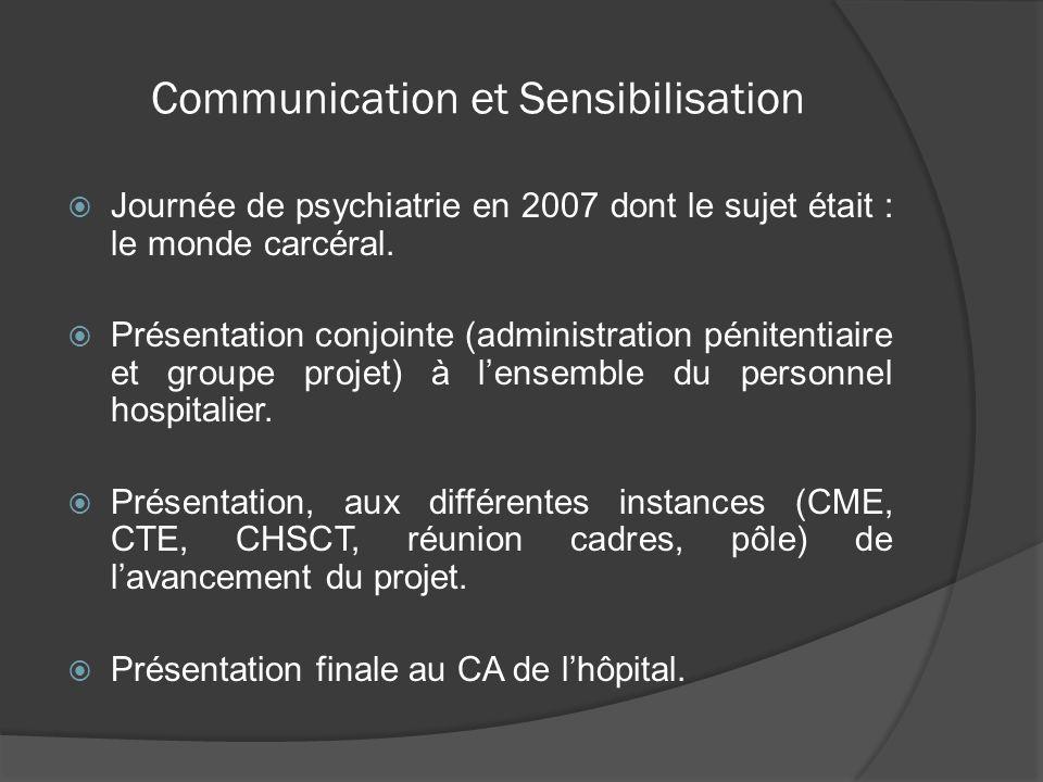 Communication et Sensibilisation Journée de psychiatrie en 2007 dont le sujet était : le monde carcéral. Présentation conjointe (administration pénite
