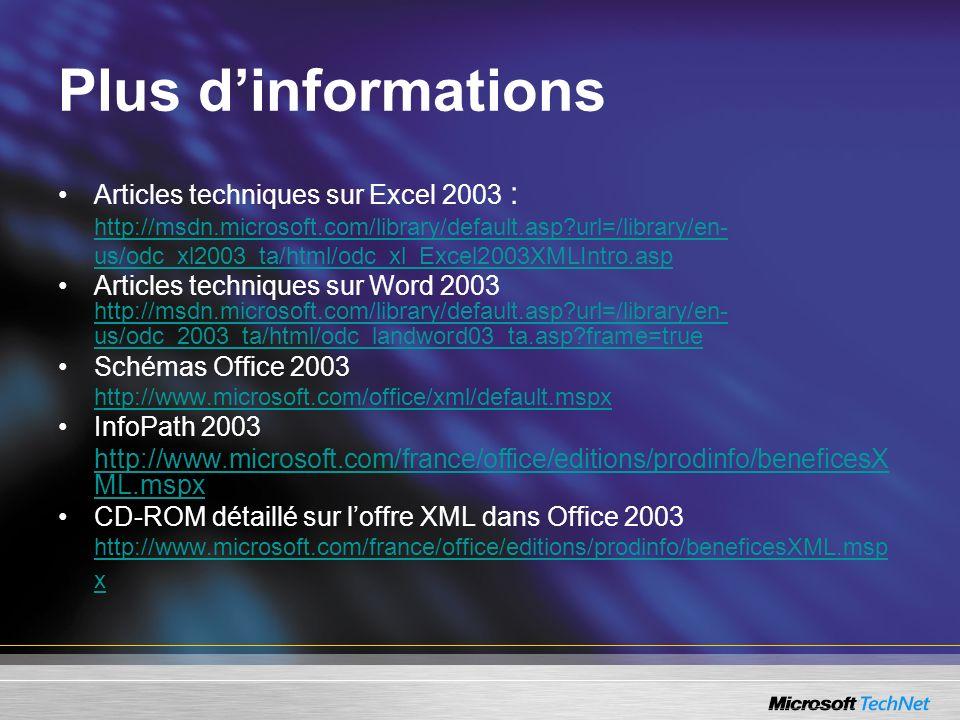 Articles techniques sur Excel 2003 : http://msdn.microsoft.com/library/default.asp?url=/library/en- us/odc_xl2003_ta/html/odc_xl_Excel2003XMLIntro.asp