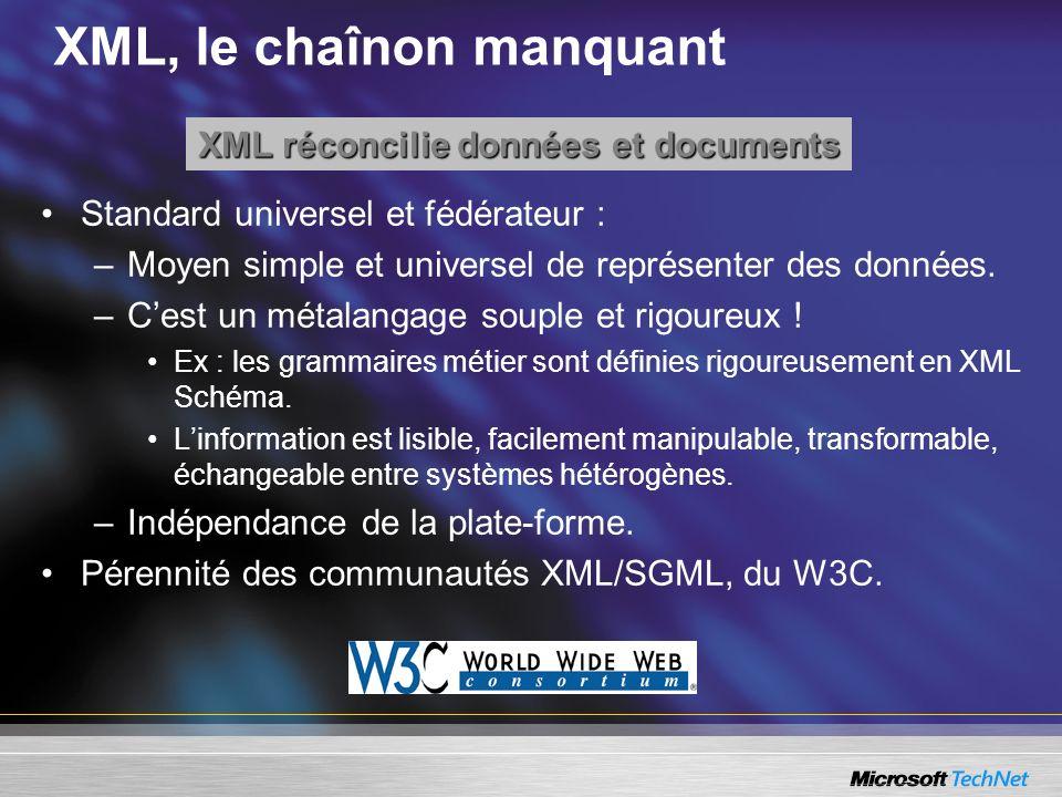 XML, le chaînon manquant Standard universel et fédérateur : –Moyen simple et universel de représenter des données. –Cest un métalangage souple et rigo