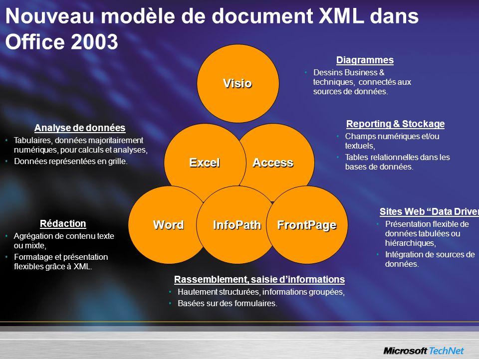 Nouveau modèle de document XML dans Office 2003 Analyse de données Tabulaires, données majoritairement numériques, pour calculs et analyses, Données r