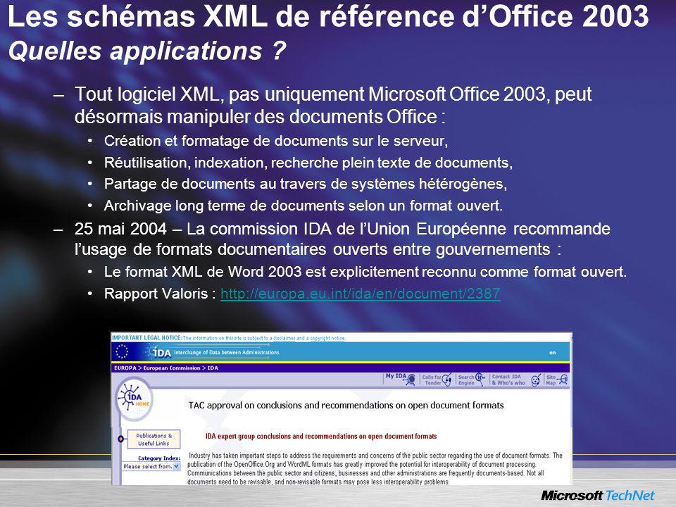 Les schémas XML de référence dOffice 2003 Quelles applications ? –Tout logiciel XML, pas uniquement Microsoft Office 2003, peut désormais manipuler de