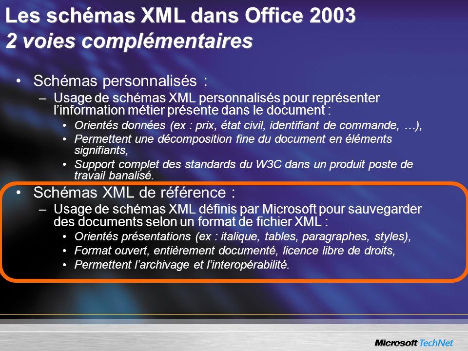 Schémas personnalisés : –Usage de schémas XML personnalisés pour représenter linformation métier présente dans le document : Orientés données (ex : pr
