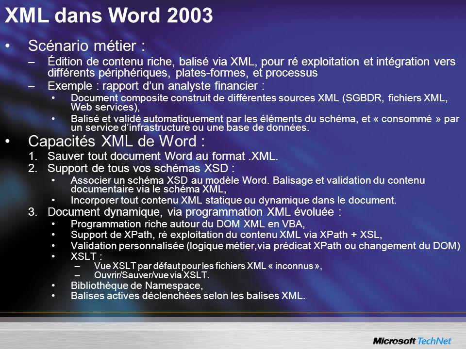 XML dans Word 2003 Scénario métier : –Édition de contenu riche, balisé via XML, pour ré exploitation et intégration vers différents périphériques, pla