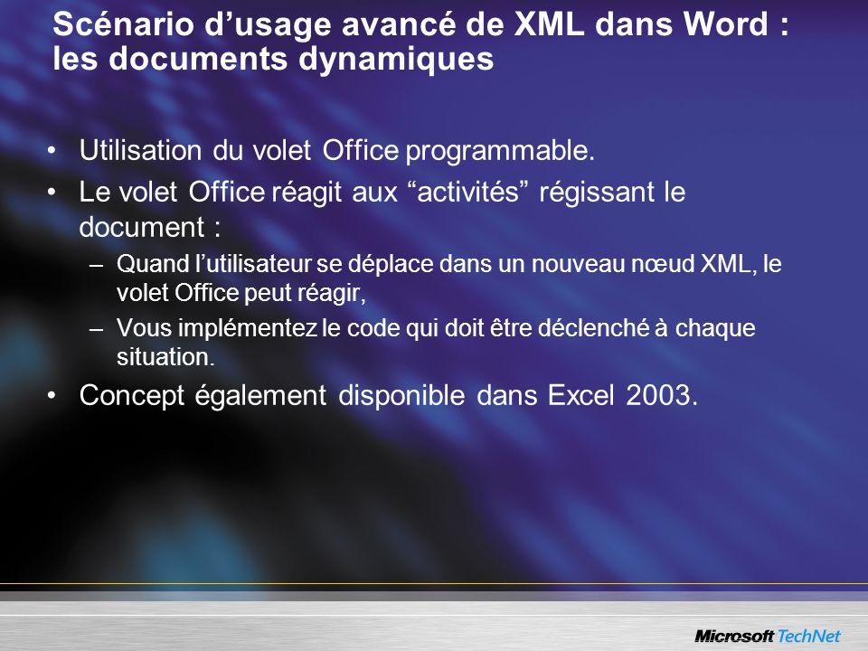 Scénario dusage avancé de XML dans Word : les documents dynamiques Utilisation du volet Office programmable. Le volet Office réagit aux activités régi
