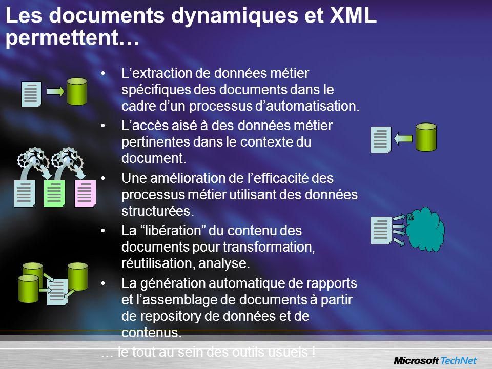 Les documents dynamiques et XML permettent… Lextraction de données métier spécifiques des documents dans le cadre dun processus dautomatisation. Laccè