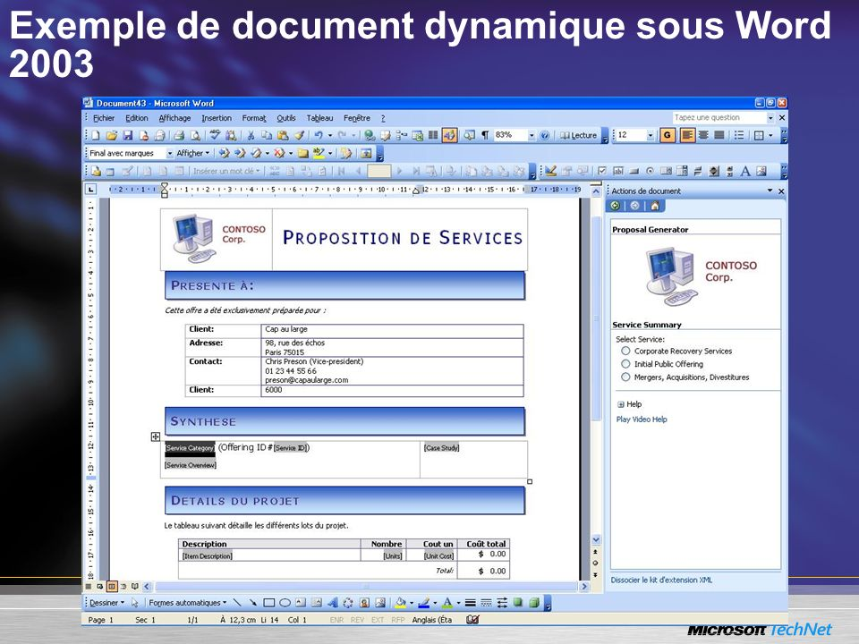 Exemple de document dynamique sous Word 2003