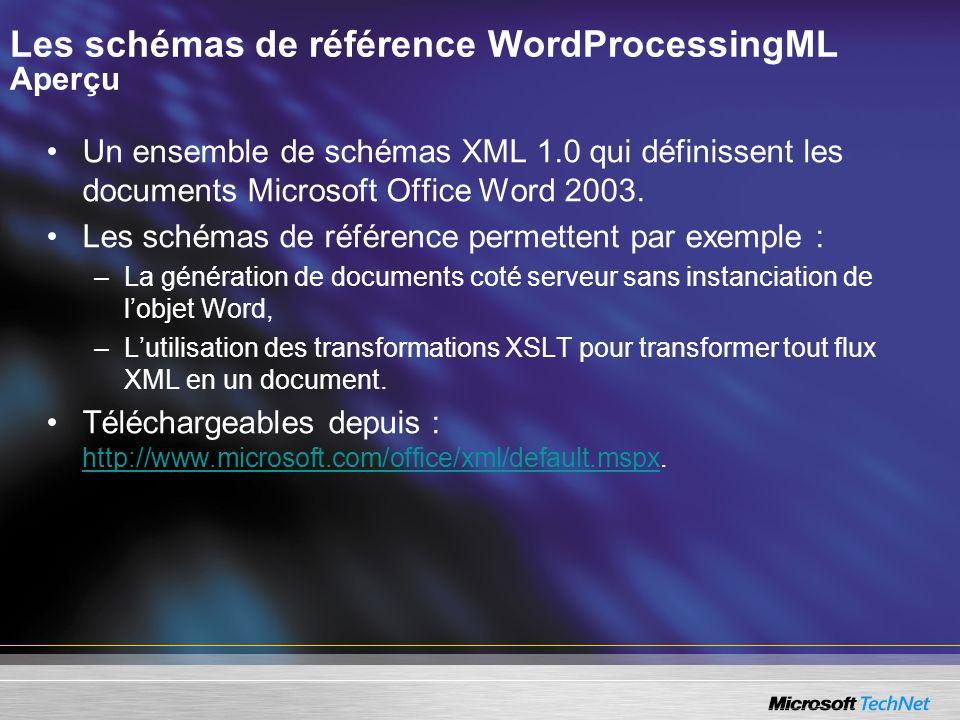 Les schémas de référence WordProcessingML Aperçu Un ensemble de schémas XML 1.0 qui définissent les documents Microsoft Office Word 2003. Les schémas