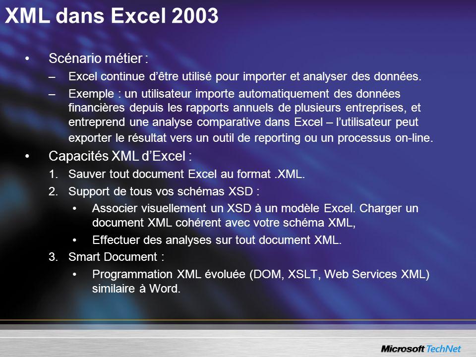 XML dans Excel 2003 Scénario métier : –Excel continue dêtre utilisé pour importer et analyser des données. –Exemple : un utilisateur importe automatiq