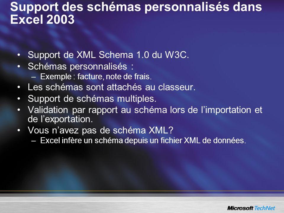 Support des schémas personnalisés dans Excel 2003 Support de XML Schema 1.0 du W3C. Schémas personnalisés : –Exemple : facture, note de frais. Les sch