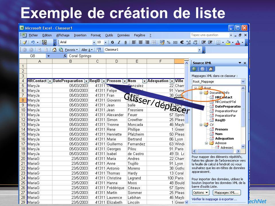 Exemple de création de liste Glisser/d é placer
